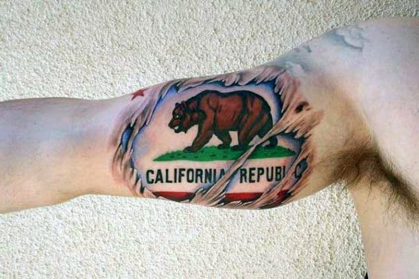 Inner Arm Bicep California Flag With Bear Mens Ripped Skin Tattoo Designs