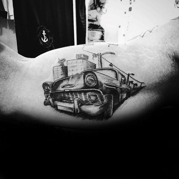 Inner Arm Bicep Chevy Car With City Street Tattoo Ideas For Guys