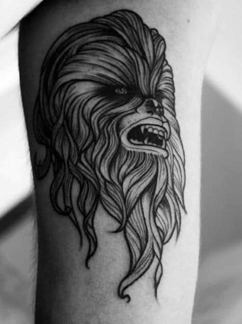 Inner Arm Bicep Chewbacca Tattoo For Guys