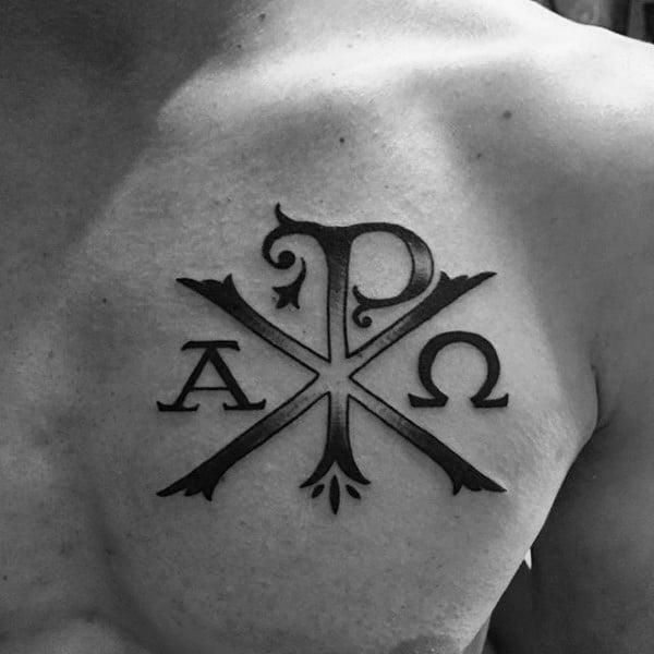 Inner Arm Bicep Chi Rho Tattoos For Guys