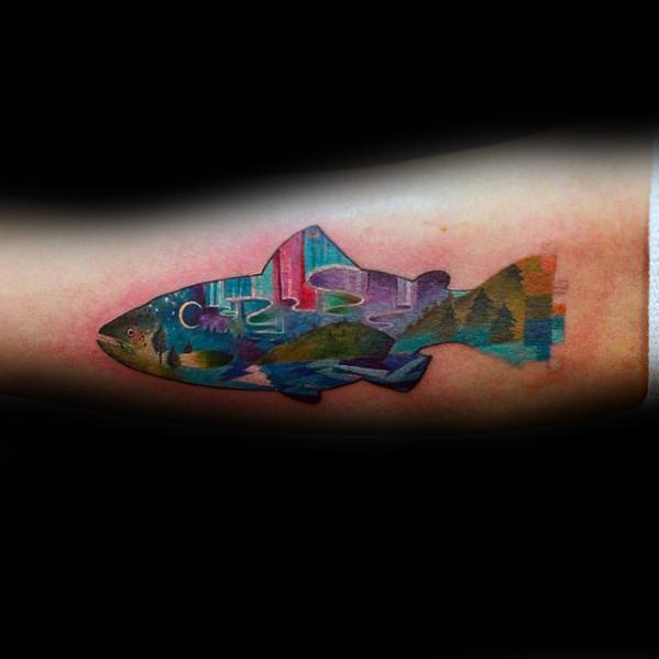Inner Arm Bicep Colorful Fish Pixel Tattoos Guys