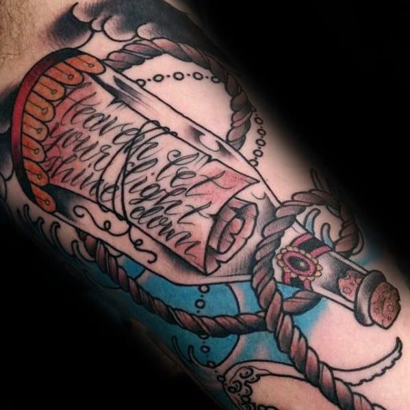 Inner Arm Bicep Cool Male Message In A Bottle Tattoo Designs