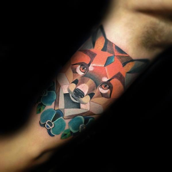 Inner Arm Bicep Cubism Tattoo Design On Man