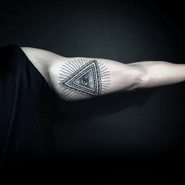Inner Arm Bicep Decorative Eye Of Providence Male Tattoo Ideas