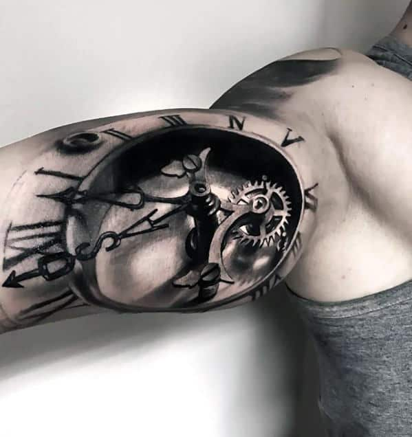 Inner Arm Bicep Different 3d Clock With Gears Tattoo Designs For Men