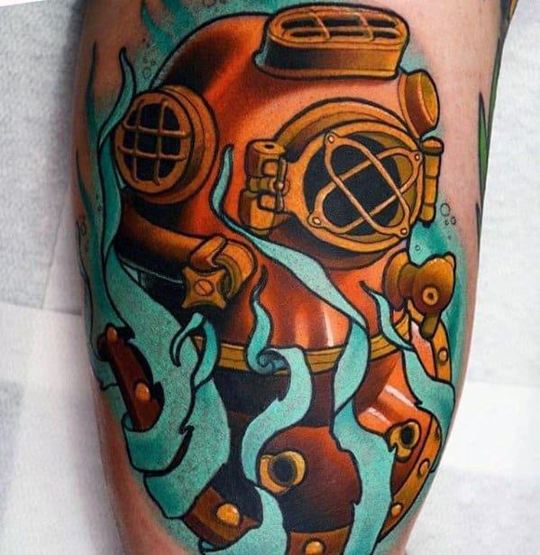 Inner Arm Bicep Diving Helmet Guys Tattoo Ideas