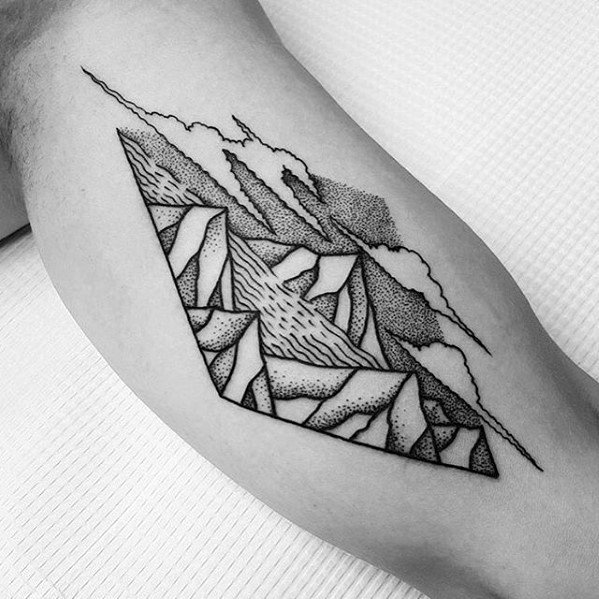 Inner Arm Bicep Dotwork Amazing Mens River Tattoo Designs