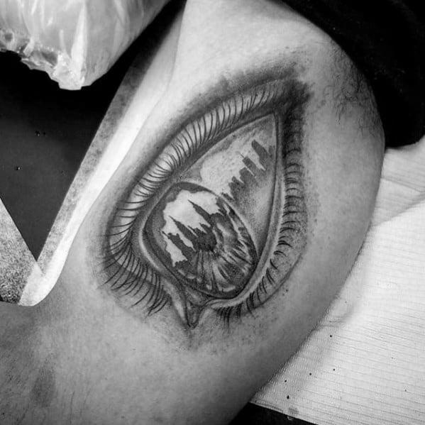 Inner Arm Bicep Eye With Skyline Reflection Guys Tattoos