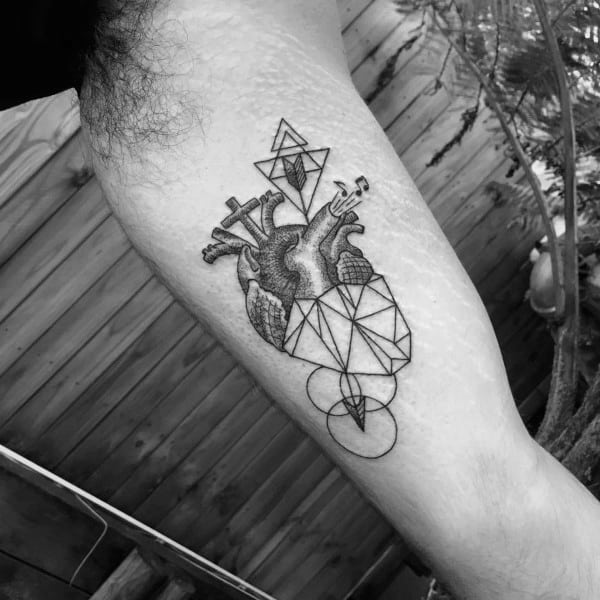 Inner Arm Bicep Geometric Heart Circles And Triangles Mens Tattoo Design