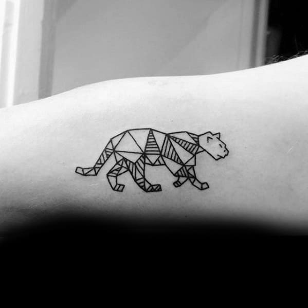 Inner Arm Bicep Geometric Mens Mountain Lion Tattoo Design Ideas