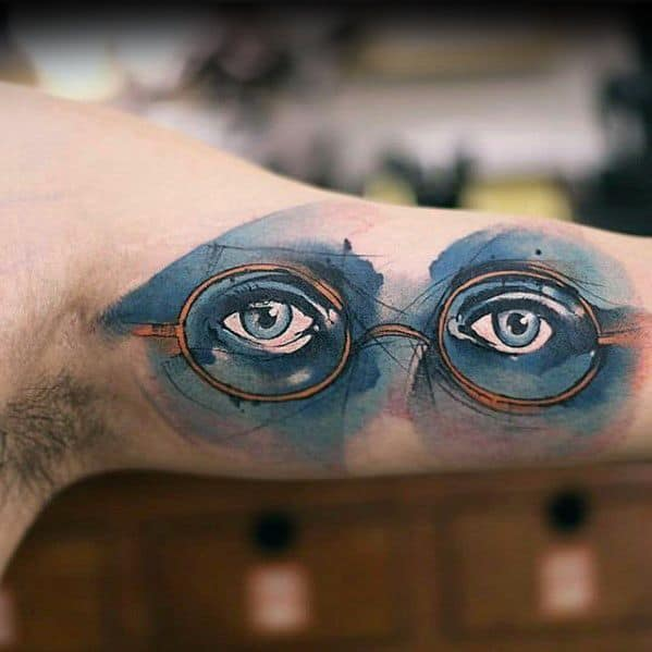 Inner Arm Bicep Glasses With Eyes Watercolor Male Small Unique Tattoos