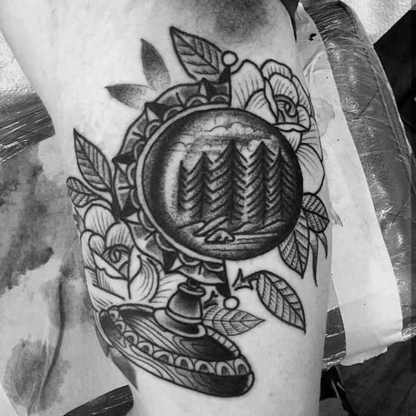 Inner Arm Bicep Globe Crystal Ball Mens Tattoo Ideas