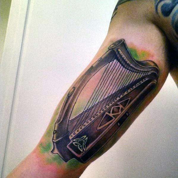 Inner Arm Bicep Green Celtic Harp Tattoos Guys