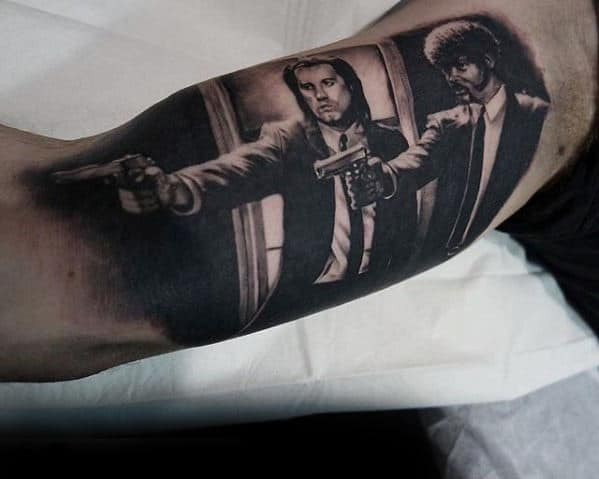 Inner Arm Bicep Guys Cool 3d Pulp Fiction Tattoo Deisgns