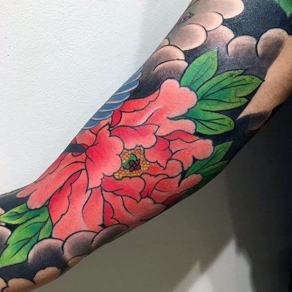 Inner Arm Bicep Guys Japanese Flower Tattoo