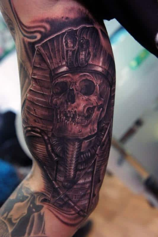 Inner Arm Bicep Guys King Tut Tattoos