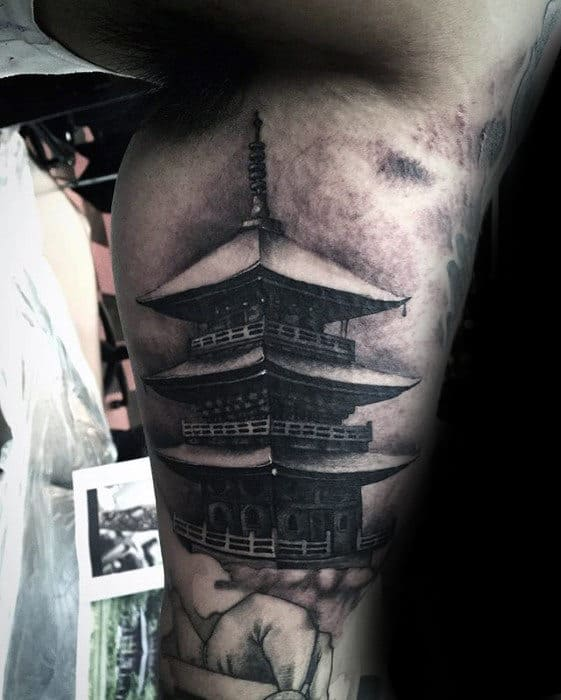 Inner Arm Bicep Guys Realistic Japanese Temple Tattoos