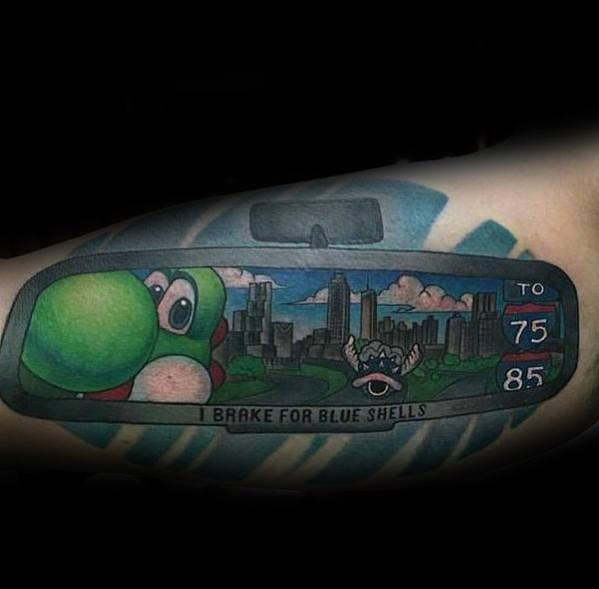 Inner Arm Bicep Guys Tattoo Ideas Yoshi Mirror Racing Designs
