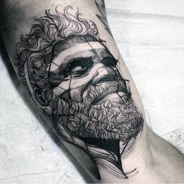 Inner Arm Bicep Guys Tattoos With Sketch Design