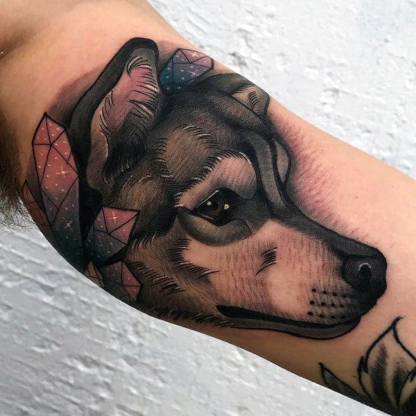 Inner Arm Bicep Husky Tattoos For Men
