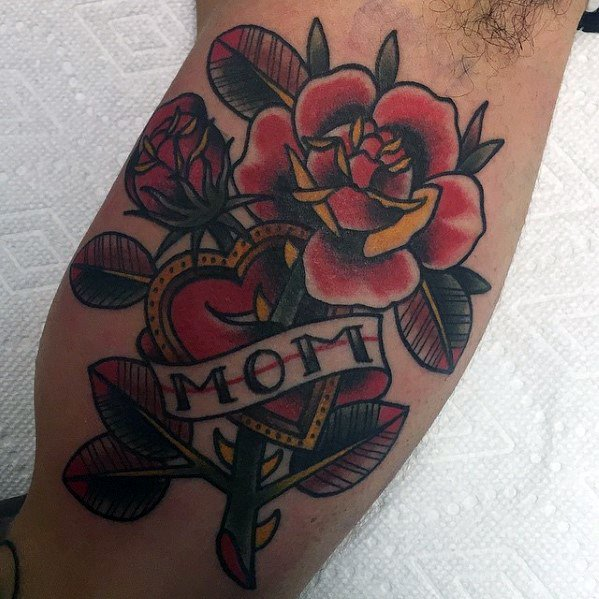 Inner Arm Bicep Incredible Traditional Mom Tattoos For Men
