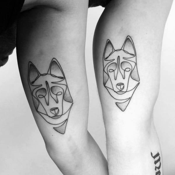 Inner Arm Bicep Lines Geometric Husky Tattoos For Men