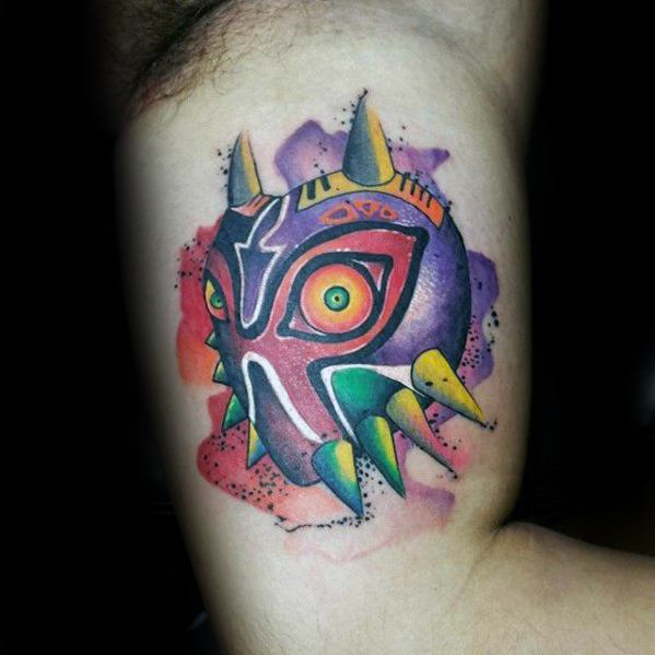 Inner Arm Bicep Majoras Mask Tattoo Ideas On Guys