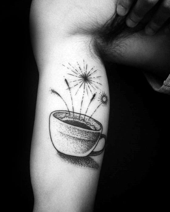 Inner Arm Bicep Male Coffee Cup Fireworks Tattoo Ideas