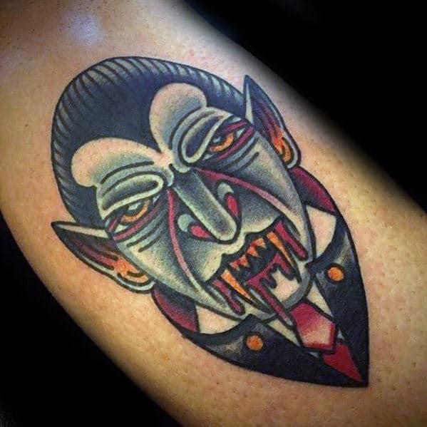Inner Arm Bicep Male Dracula Old School Traditional Tattoo Ideas