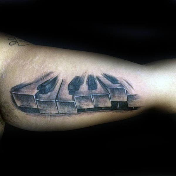 Inner Arm Bicep Male Shaded Tattoo Of Piano Keys
