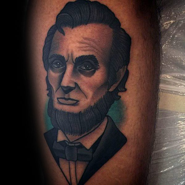 Inner Arm Bicep Male Tattoo With Abraham Lincoln Design