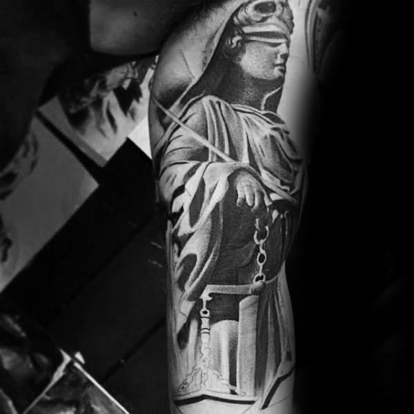 Inner Arm Bicep Masculine Guys Lady Justice Tattoos
