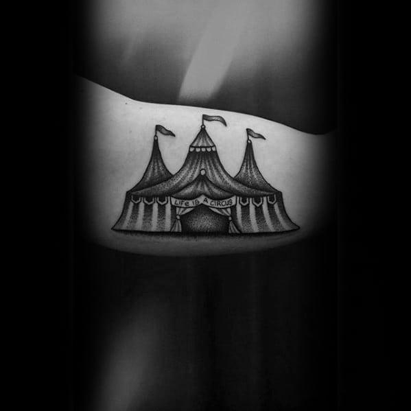 Inner Arm Bicep Mens Circus Tent Tattoo Ideas