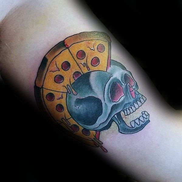 Inner Arm Bicep Mens Cool Skull Pizza Hair Tattoo Design Inspiration