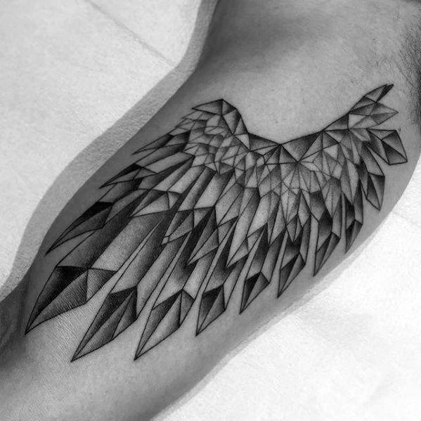 Inner Arm Bicep Mens Crystal Wing Tattoos