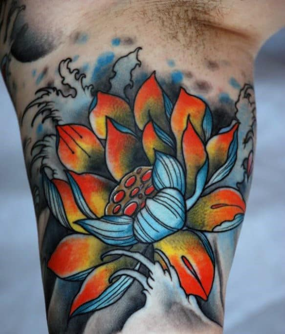 Inner Arm Bicep Mens Lotus Flower Tattoos