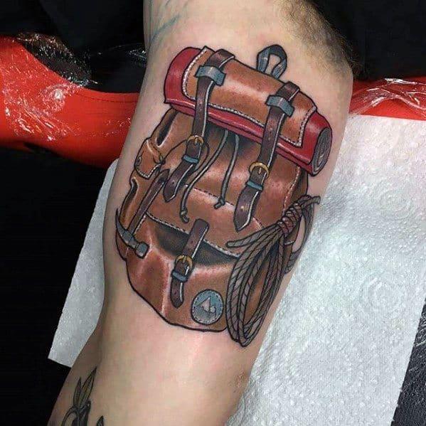 Inner Arm Bicep Mens Rock Climbing Tattoo Ideas
