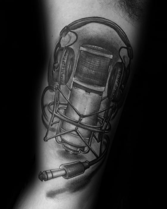 Inner Arm Bicep Microphone With Headphones Male Tattoos