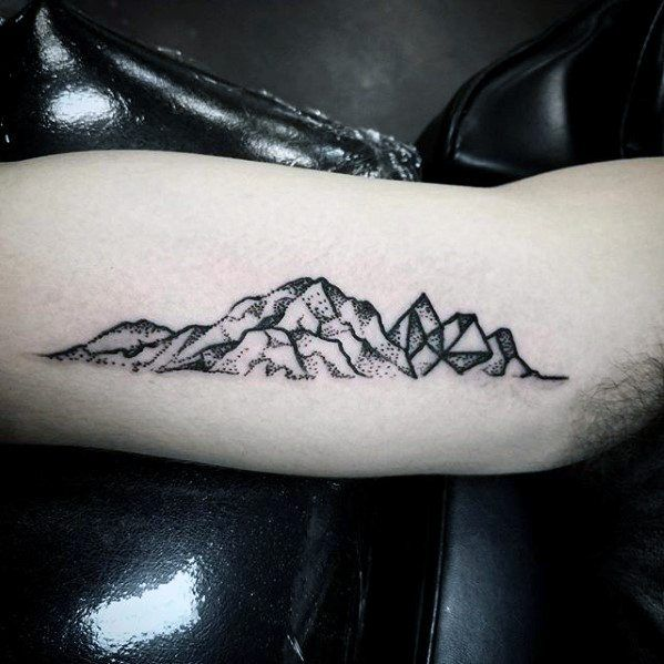 Inner Arm Bicep Mountains Small Unique Tattoos For Guys