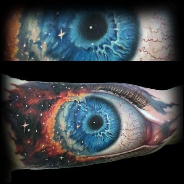 Inner Arm Bicep Nebula Eye Mens Tattoo Morph Design