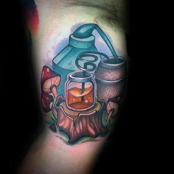 Inner Arm Bicep New School 3d Mushroom Tattoo Ideas On Guys