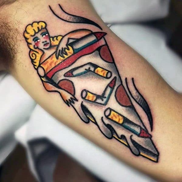 Inner Arm Bicep Old School Artistic Male Pizza Tattoo Ideas