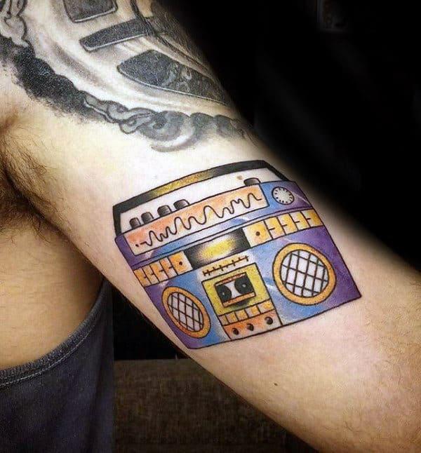 Inner Arm Bicep Old School Guys Boombox Tattoo Ideas