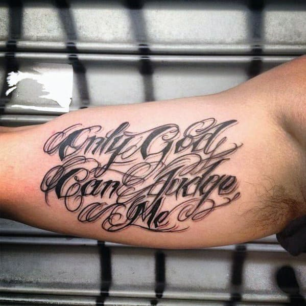 inner arm bicep only god can judge me tattoo for men