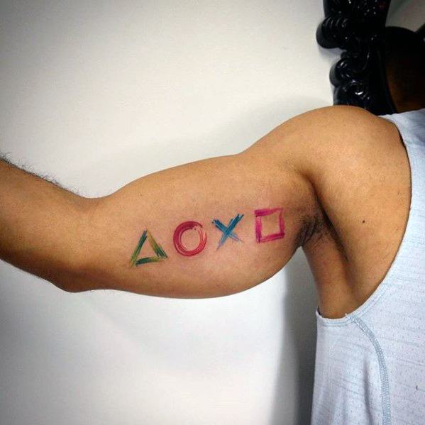 Inner Arm Bicep Paint Brush Stroke Playstation Male Tattoo Designs