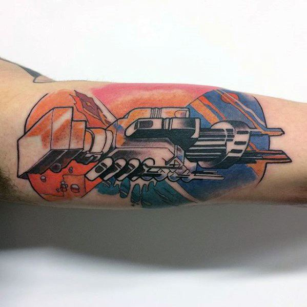 Inner Arm Bicep Pink Floyd Tattoo Designs For Men