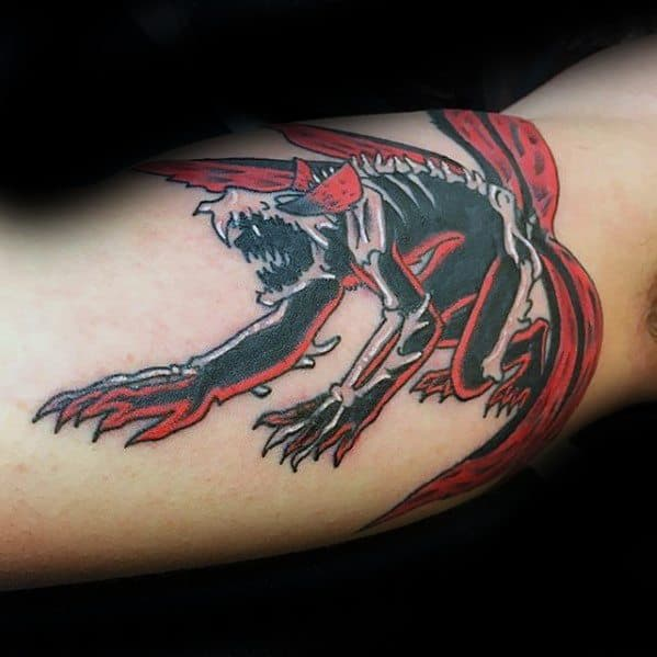 Inner Arm Bicep Red And Black Ink Mens Naruto Tattoo Design Inspiration