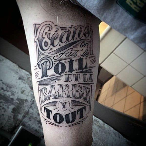 Inner Arm Bicep Retro Font Typography Male Tattoo Ideas