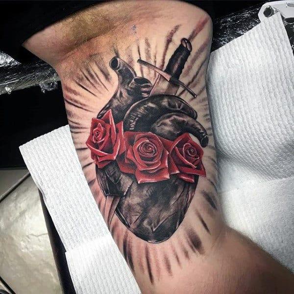 Inner Arm Bicep Sacred Heart Red Rose Flower Mens Tattoos