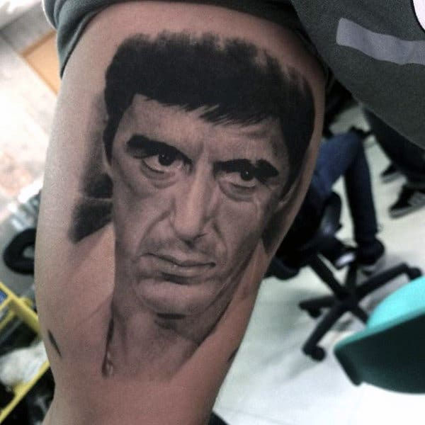 Inner Arm Bicep Scarface Mens Tattoos